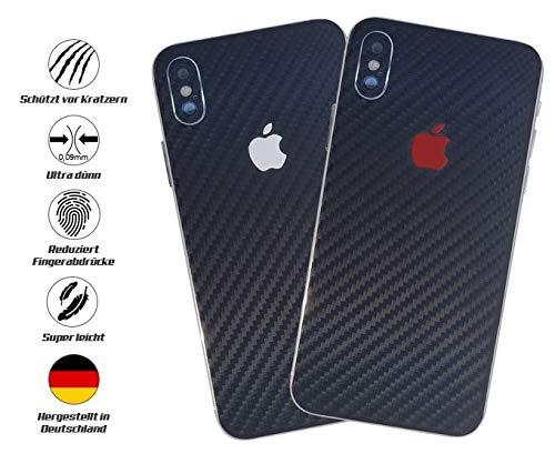 TKCase iPhone X Skin Schutzfolie Rückseite [2 Stück] Carbon,Shadow. (Carbon Schwarz)