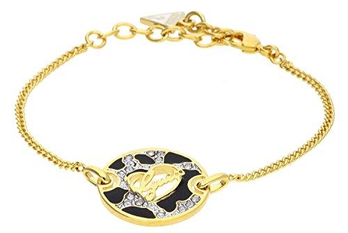 Guess bracciale da donna adventure in acciaio inox parzialmente placcato oro con cristallo bianco 20cm ubb61062-s