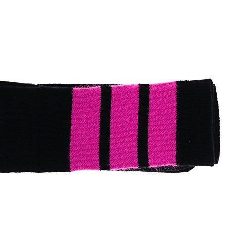 Choobes (Unisex) 19 Zoll Mitte-Kalb Schwarze Röhrensocken mit Bubble Gum Pink Streifen