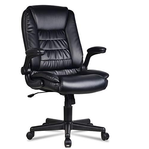 LENTIA Bürostuhl schreibtischstuhl aus Verstellbarer Drehstuhl Chefsessel Ergonomischer Computerstuhl Office Stuhl bis zu 300 kg belastbar schwarz (Drehstuhl)