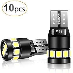 AGPTEK 10PCS T10 LED Ampoules de Voiture, Lampe W5W 194 168 2825 Xénon 6000K 2835 Chipset LED, Lampe de Remplacement à Inversion pour Lumière Dôme Carte Côté Feux de Plaque Immatriculation-12V Blanc