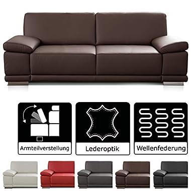 Cavadore Leder- und Kunstledersofas Corianne / hochwertige Sofas mit modernem Design / mit Armteilverstellung / verschiedene Größen und Bezüge