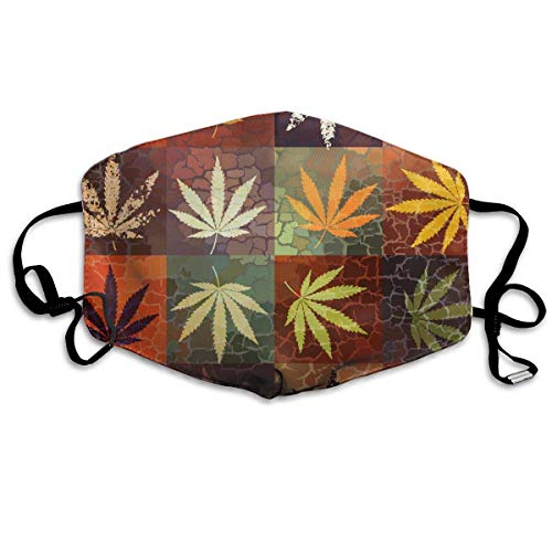 en für Erwachsene, Mask Face, Mouth Mask, Breathable Mask Anti Dust, Unisex Cannabis Weed Leaves Pattern Printed Cotton Mouth-Masks Face Mask Polyester Anti-dust Masks ()