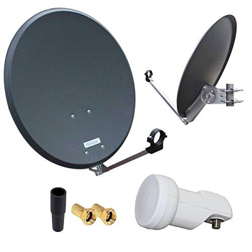 HD Digital SAT Anlage 60cm ALU Spiegel Schüssel Anthrazit + Single LNB 1 Teilnehmer zum Empfang von DVB-S/S2 Full HD 3D 4K Ultra HD (UHD) Signale + Stecker Gratis dazu im Set Hd-single