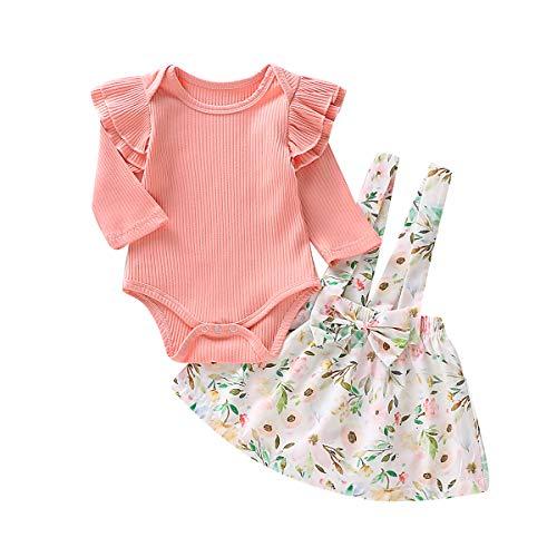 Haokai 0-6 T Baby Mädchen Langarm Tops T-Shirt Strampler Blumenrock Kleid Outfits für Kleinkinder Kleinkind -