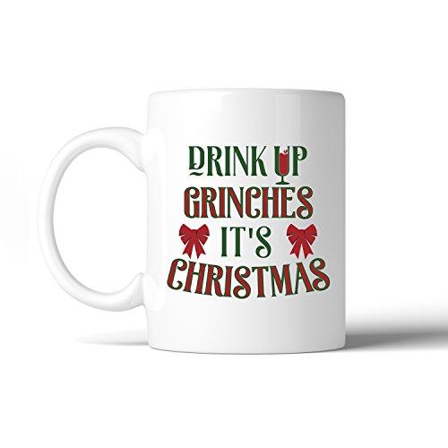 Dekorationen Grinch Weihnachten (365Druck Urlaub Dekoration Kaffee Tasse Weihnachten Geschenk Weiß Keramik, keramik, Drink Up Grinches It's Christmas, 11oz)