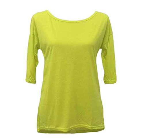 Covermason Womens Long Sleeve coton Blouse Casual Shirt Tops Jaune