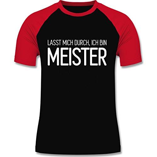 Handwerk - Lasst mich durch, ich bin Meister - zweifarbiges Baseballshirt für Männer Schwarz/Rot