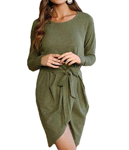 CuteRose Women's Dolman Sleeve Strappy Pure Colour Casual Cocktail Party Dress Green XS - Dolman Sleeve-wrap