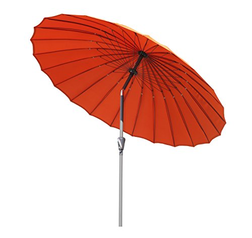 Angel Living Ø 250cm Sonnenschirm, Rund Shanghai Marktschirm,Terrassenschirm mit Kurbel für Garten,Terrassen, Höfe,Schwimmbäder,mit UV-Schutz 50+Terrakotta