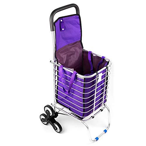 Faltbarer Einkaufstrolley mit Treppensteiger, Handwagen/Einkaufswagen mit Klettverschluss/Stabile und Faltbare Einkaufstasche aus Aluminium, Violett