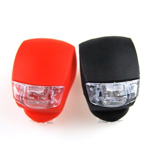 BestCool Mini LED Licht 2er Set Silikonleuchte Lenker Lenkerlicht f&uumlr Roller Scooter Cityroller in Rot und Schwarz