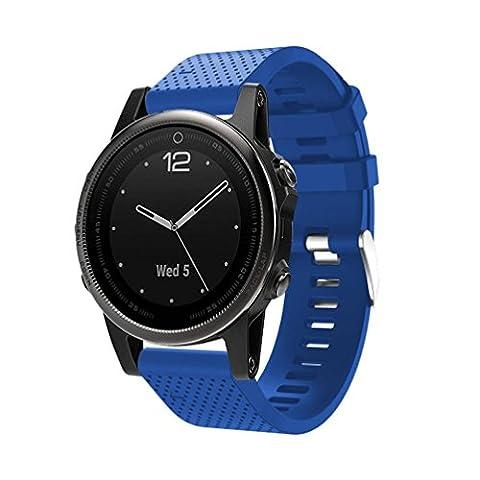 upxiang pour GPS Garmin Fenix 5S Montre, Bracelet souple silicone cagel, de rechange Montre bracelet avec des outils, Quick Release Kit bande Strap 225MM bleu