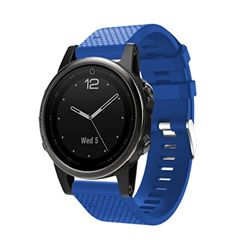 Upxiang Für Garmin Fenix 5S GPS Uhr, Ersatz Silicagel weiches Armband, Armband Uhr mit Werkzeugen, Quick Release Kit Band Strap (Blau)
