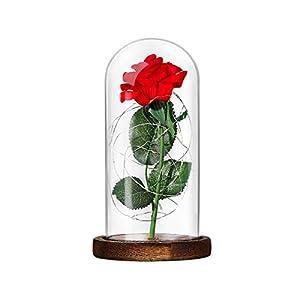 Lámpara de Mesa LED Rosa de Seda Roja y Luz con Pétalos Caídos en Cúpula de Cristal Sobre Base de Dia de la madre Madera…
