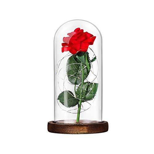 Lámpara Mesa LED Rosa Seda Roja Luz Pétalos