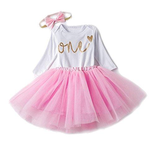 Baby Mädchen 1. 2. Geburtstag Tutu mit Stirnband Set Stück Romper + Rock Tütü + Bowknot Stirnband Geschenk Verkleidung, 12 Monate