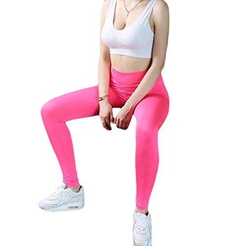 Hjuns Legging femme taille haute pour yoga, running, fitness rose fuchsia