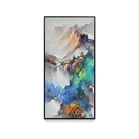 Peinture décorative de nouveau xuanguan chinois/ peintures abstraites de vie verticale/ poster/ peintures murales de corridor créatif/[minimaliste moderne]-C 50x100cm(20x39inch)