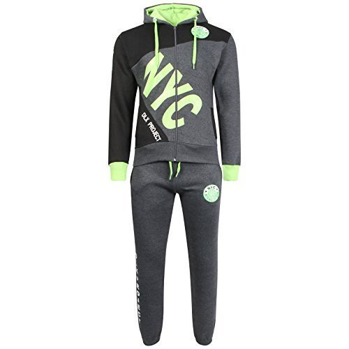 A2Z 4 Kids® Kinder Jungen Trainingsanzug NYC DELUXE PROJECT Aufdruck - T.S NYC Project Charcoal & Lime 9-10