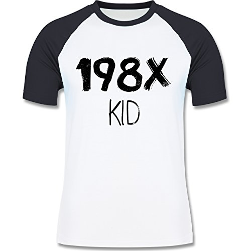 Geburtstag - 198X Kid Vintage - zweifarbiges Baseballshirt für Männer Weiß/Navy Blau