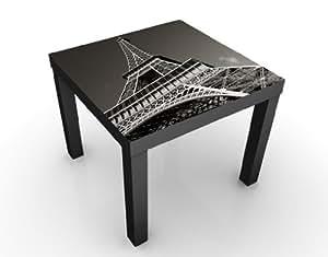 Table basse design blanc motif tour eiffel 55 x 45 x 55 cm