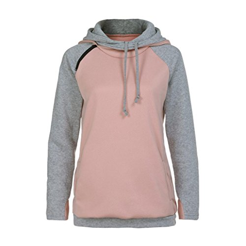 FORH Damen Farbe Patchwork Hoodie Sweatshirt Modisch Langarm Pullover Tops Bluse Gemütlich Softshell Mit Kapuze outwear (M, Rosa) (Langarm-bluse Gap)