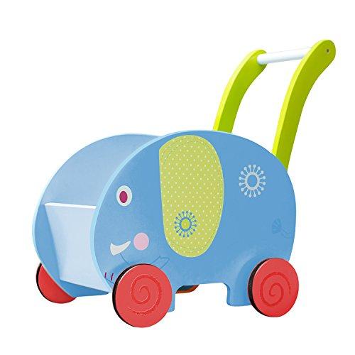 Labebe Chariot Enfant, 2-en-1 Utilisation comme Trotteur Enfant, Bleu éléphant Trotteur Bois pour 1 An et Plus, trotteur bébé fille/Chariot...