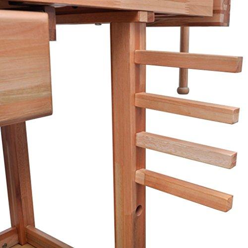 Werkbank für Zimmereiarbeiten, aus Hartholz, mit Schublade und zwei Klemmböcken - 3