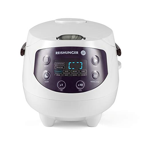 Digitaler Reishunger Mini Reiskocher (0,6l/350W/220V) Multikocher mit 8 Programmen, Weiß, 7-Phasen-Technologie, Premium-Innentopf, Timer- und Warmhaltefunktion - Reis für bis zu 3 Personen