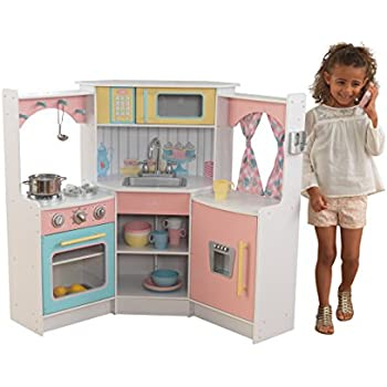 Kidkraft 53368 deluxe corner play kitchen wooden kids for Kitchen set game