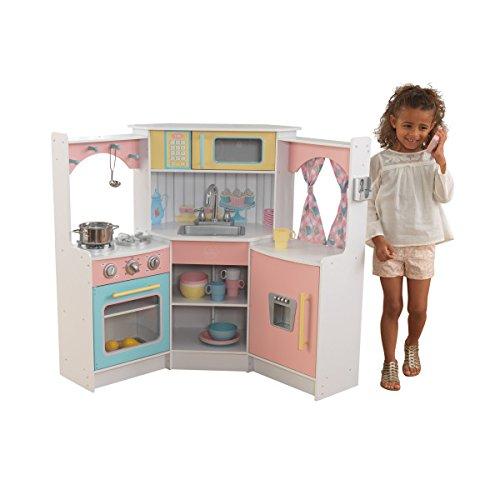 KidKraft 53368 Deluxe Corner Spielküche weiß aus Holz für Kinder mit EZ Kraft AssemblyTM - Holz-entertainment-schrank