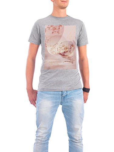 "Design T-Shirt Männer Continental Cotton ""Blush and Rose Gold Abstract"" - stylisches Shirt Abstrakt von Linsay Macdonald Grau"