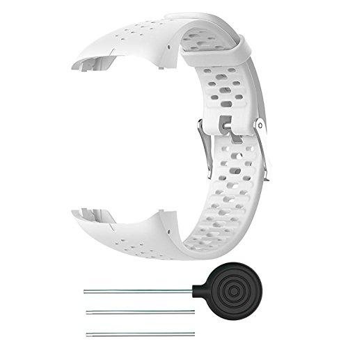 FOONEE - Correa de Silicona para Reloj Polar M400 M430, Correa de Reloj de Pulsera de Repuesto para Polar M400 M430 GPS Running Smart Sports Watch, Blanco