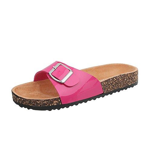 Ital-Design Pantoletten Damen-Schuhe Leichte Sandalen Sandaletten Pink, Gr 41, Ku-6-