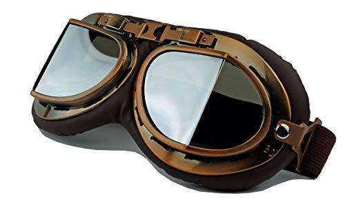 Vintage Style Oldtimer Brille Motorradbrille Cabrio Pilot Flugzeug Kradmelder WWII (Silver Mirror)