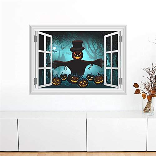 QTXINGMU Kürbis Laterne Vogelscheuche Dunklen Wald Wand Aufkleber Halloween Dekoration 3D Fake Fenster Home Aufkleber DIY Festival Wandmalerei Kunst