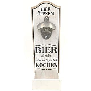 G.H. Robuster Grosser Wand Flaschenöffner im Vintage Stil zur Wandmontage aus Holz, mit Metall Kapselheber, Masse 30 x 10 cm, Ausführung mit Spruch: Bier KALT Stellen.