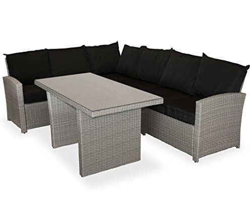 KMH, große graue Gartensitzgruppe Lounge Esstisch Sofa 'Hannover' inklusive Auflagen und Kissen...