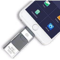 Clé USB externe i-Flash 3en 1OTG - Pour iPhone 8 / 7 / 6 / 6S / 5 / iPad et téléphones Samsung 256 Go Silver