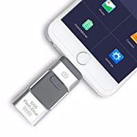 3 in 1 Lightening OTG USB Flash Drive Pen Drive for iPhone/ipad/Android Phones USB 3.0 Pendrive Memory Stick (256GB, Silver)