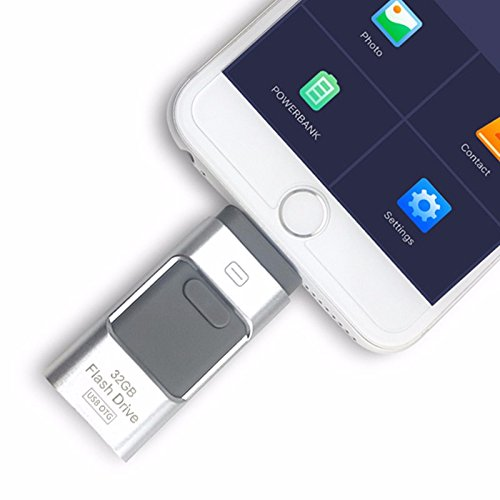 3 in 1 otg pen drive usb flash drive esterno per iphone i-flash memory stick per iphone 8/7/6/6s/5/ipad samsung cellulari silver 256 gb