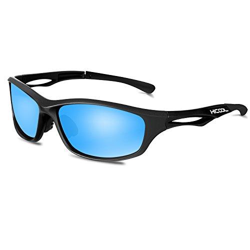 Hicool Sportbrille Polarisierte Sonnenbrille Fahrradbrille Unisex Brille Gläser für Outdoor Sport UV400 Schutz gegen Blendung für Damen und Herren Radfahren Autofahren Laufen Angeln Golf Camping