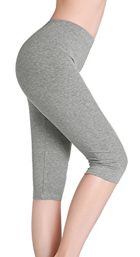 CnlanRow Damen Bequem Unterrock Hose Grau Capri Yoga Pants Stretch 3/4 Leggings Black Stretch Capri Pants