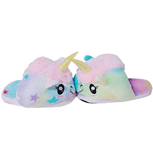JYSPORT Einhorn Hausschuhe Damen Plüsch Kuschelige Pantoffeln Slip On Slippers Unicorn Home Pantoffeln für Erwachsene Europäische Größen 39-42 Stern