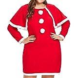 OverDose Damen Frohe Weihnachten Frauen Printed Long Sleeve Abend Prom Party Tanz Cosplay Schlank Kostüm Swing Kleid Rock(B-Rot,EU-42/CN-XXL )