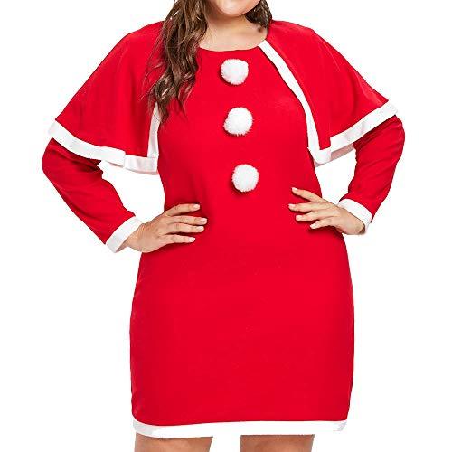 Große Größe Weihnachtskleider Huihong Damen Rot Voller Druck Langarm Casual Kleider Weihnachtsmann Kostüm Mit Hut L-5XL (Rot, 5XL/EU:56)