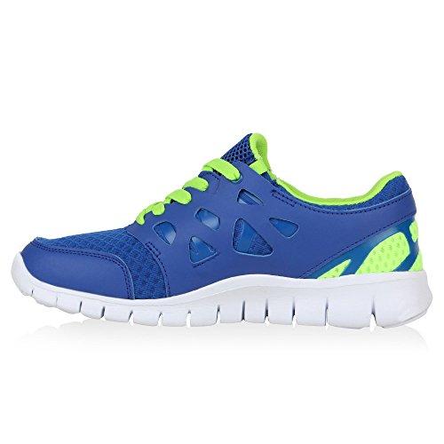 Herren Laufschuhe Sneakers Runners Sportschuhe Lack Blau Neongrün Avion