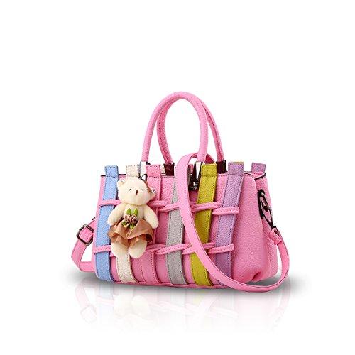 NICOLE&DORIS Le donne variopinto di modo borsa di Crossbody della borsa della spalla del Tote sacchetto di acquisto a lungo Maniglie PU per le signore Grigio Scuro Rosa