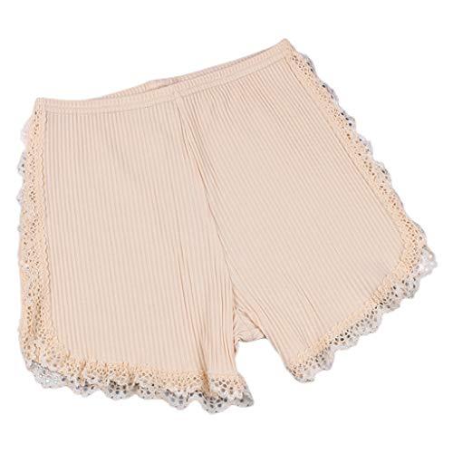 chenpaif Frauen Mädchen Thread Ribbed Knit Sicherheitsshorts Einfarbig Nahtlose Stretchy Leggings Hosen Lace Trim Spleißen Baumwolle Unterhose Nude L - Mädchen Lace Trim Leggings
